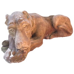 Recumbent Cast Concrete Dog