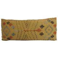 Turkish Yellow Woven Vintage Decorative Bolster Pillow