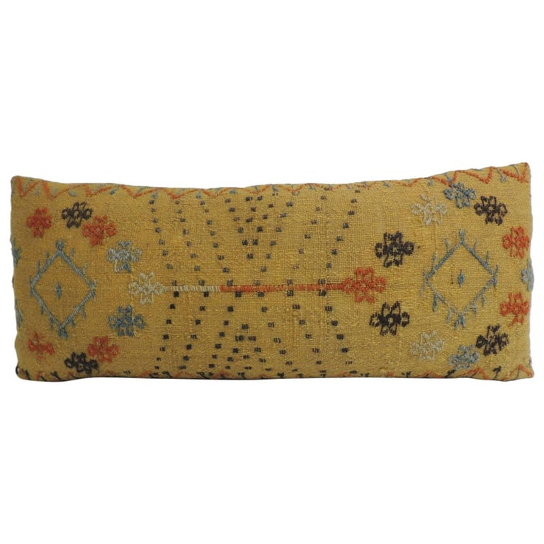 Turkish Yellow Woven Vintage Decorative Bolster Pillow For Sale