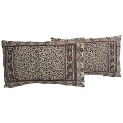 19th Century Isfahan Kalam Hand-Blocked Floral Pair Decorative Lumbar Pillows