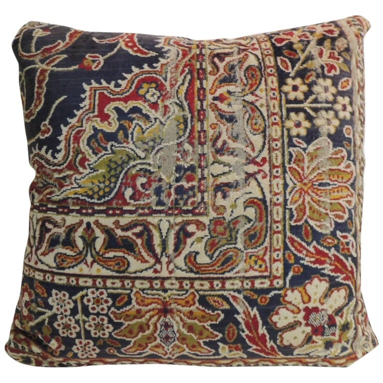 Vintage Large Cotton Velvet Floral Turkish Floor Pillow For Sale at 1stdibs