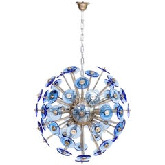 Italian Sputnik Chandelier in Murano Glass Blue, Mazzega 1980s