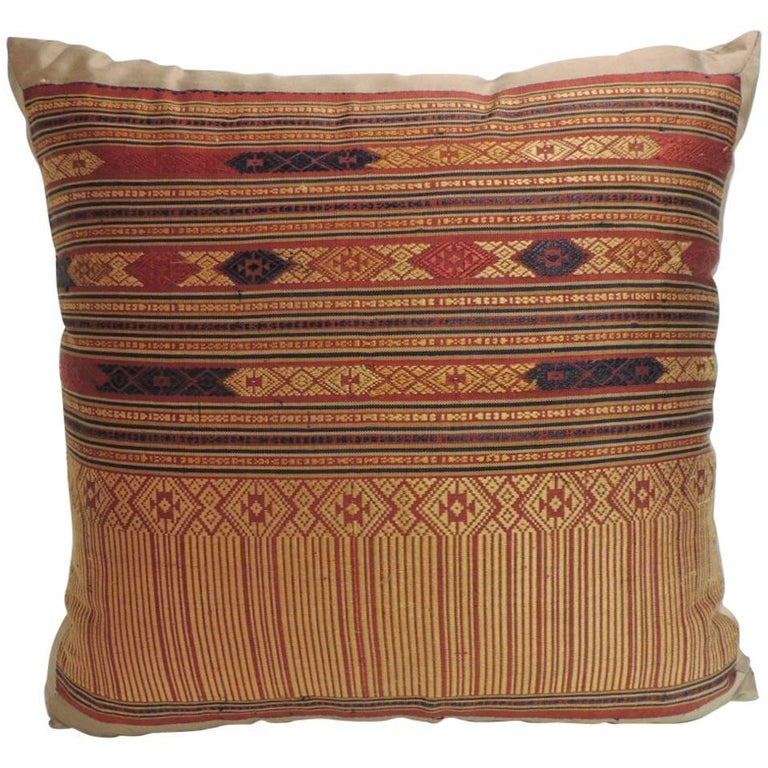 Vintage Decorative Pillow : Vintage Silk Floss Embroidery Decorative Pillow from Laos For Sale at 1stdibs