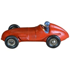 Red Racing Car Model , thick Rubber , 1940s