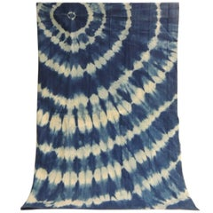 Vintage Blue and White Tied-Dyed Artisanal African Cloth