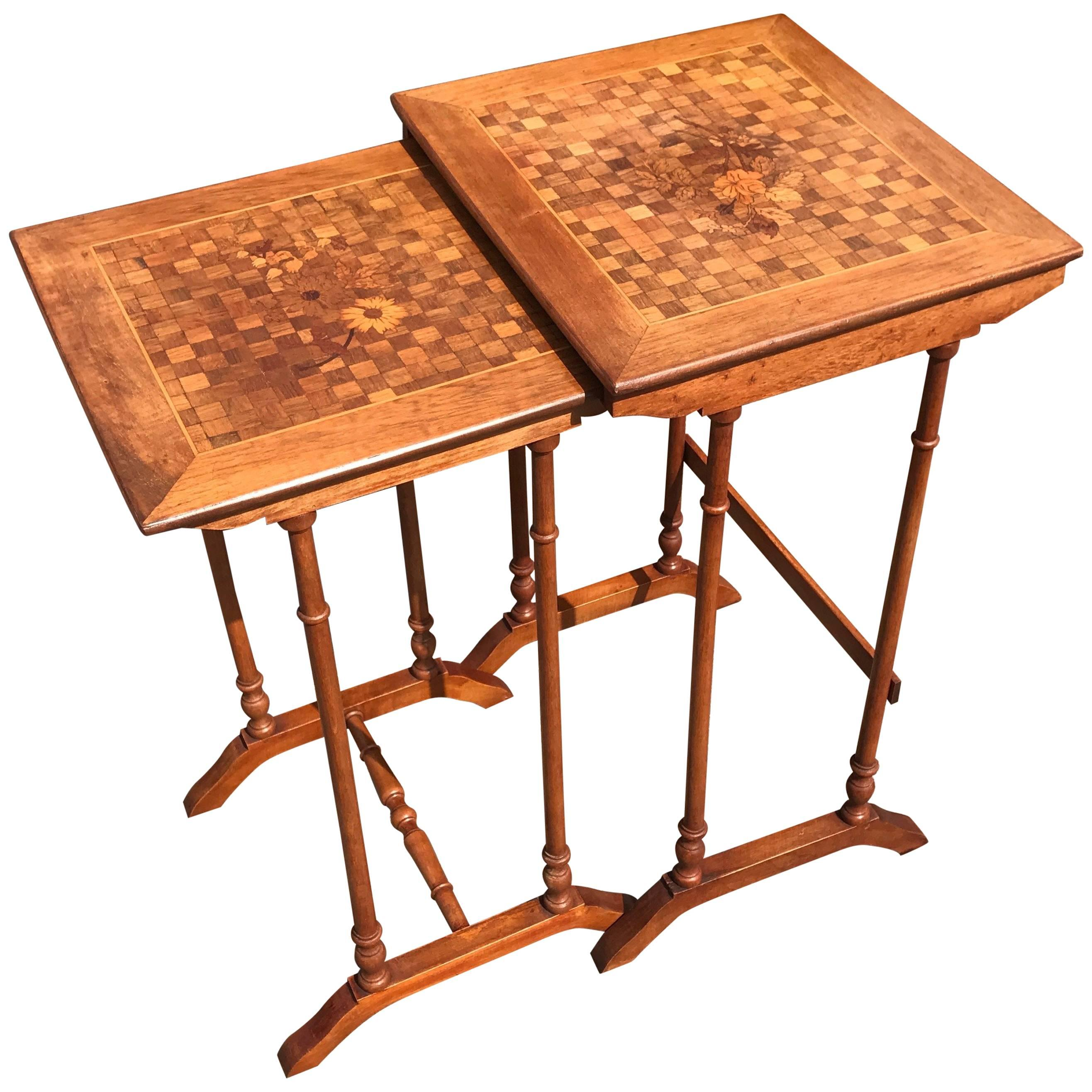 Art Nouveau Era Nest of Marquetry Tables with Inlaid Flowers in Gallé Style