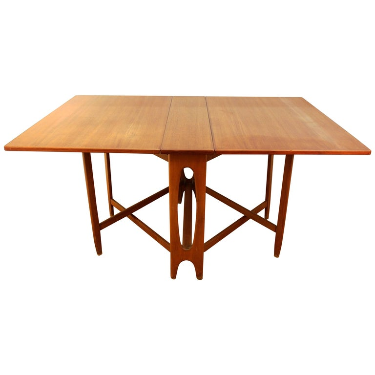 Mid Century Modern Style Teak Folding Dining Table For