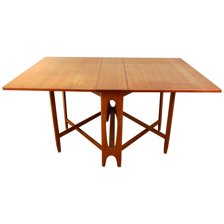 Mid Century Modern Style Teak Folding Dining Table For Sale