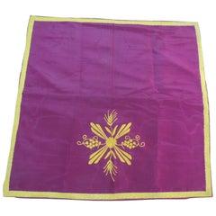 CLOSE OUT SALE: Silk Embroidery Ecclesiastical Purple Square Altar Cloth