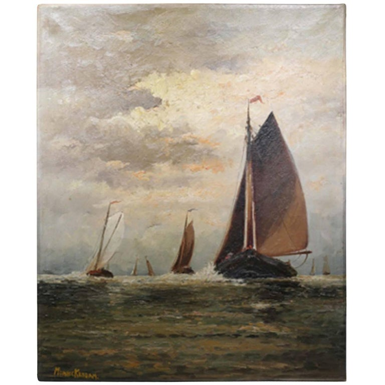 Untitled Sailboats on Water Oil on Canvas, circa 1910-1920