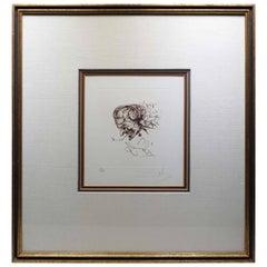 """""""Symbols"""" Devil Signed Salvador Dali Etching, 1970"""