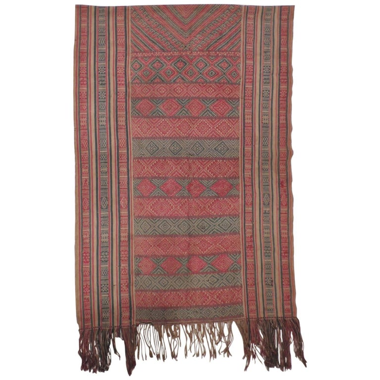 Monumental Antique Turkish Woven Colorful Textile with Fringes