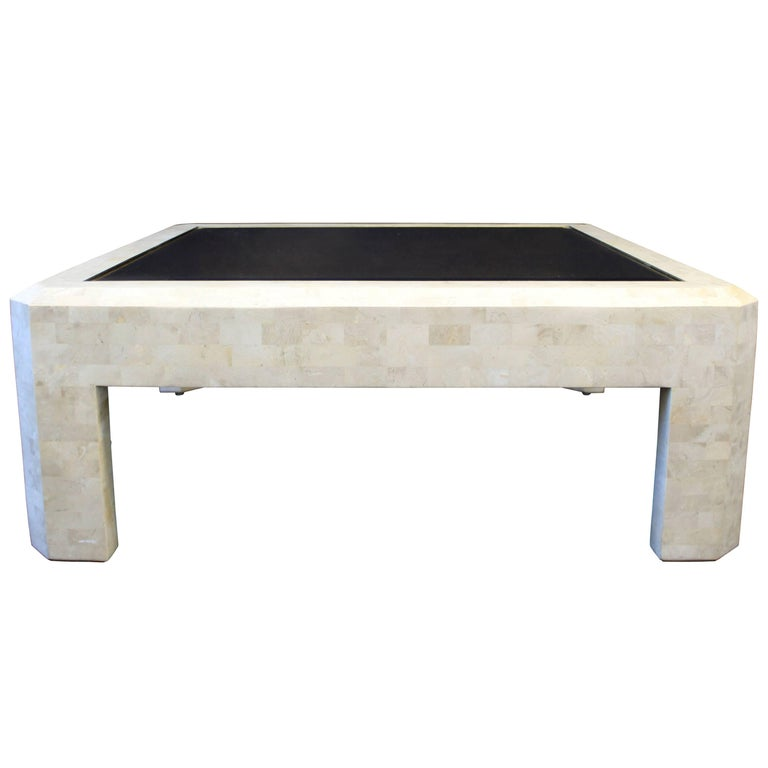 Mid-Century Maitland-Smith Tessellated Stone and Brass Coffee Table
