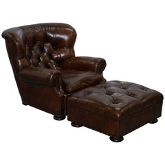 Full Restored Ralph Lauren Writers Cigar Brown Leather Armchair and Ottoman