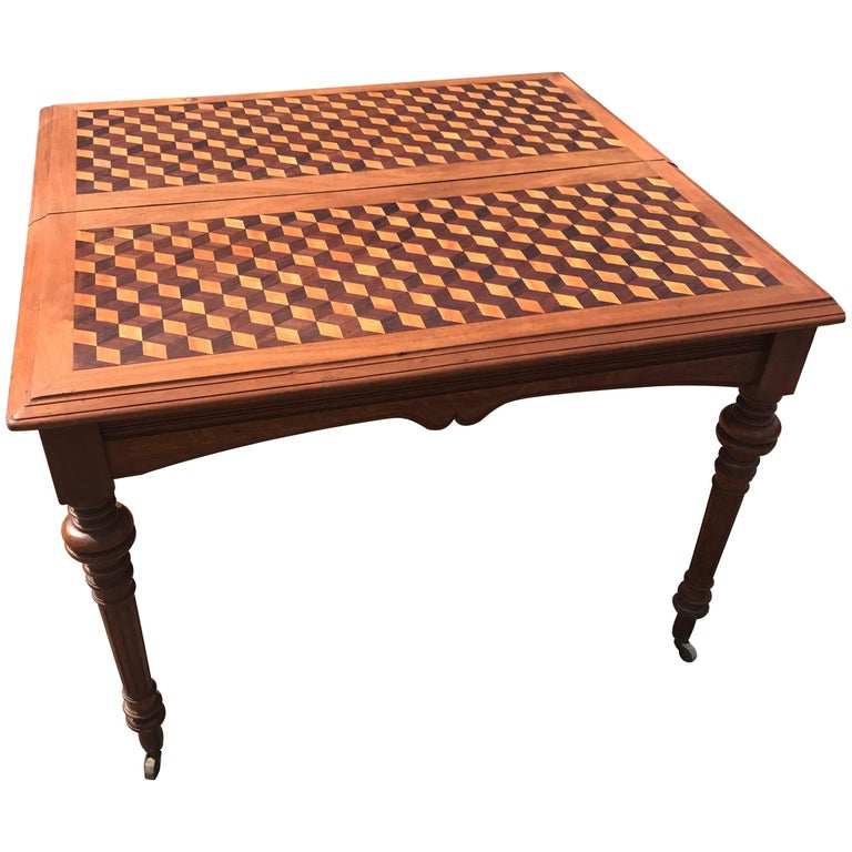 Stunning Antique Marquetry Inlaid Square Centre Table, French Nutwood on Casters