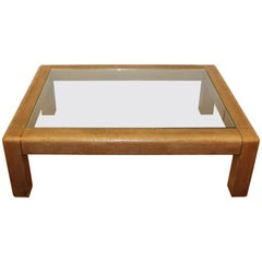 Karl Springer Coffee Table with Brown Shagreen Frame and Inset Glass Panel