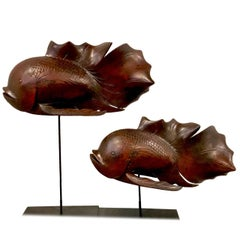 Pair of Japanese Carved Rosewood Koi Sculptures on Stands