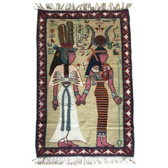 Early 20th Century Egyptian Revival Hand-Knotted Carpet / Tapestry Isis & Hathor