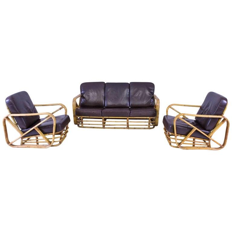 Mid century modern rattan sofa and lounge chairs paul for Modern rattan sofa