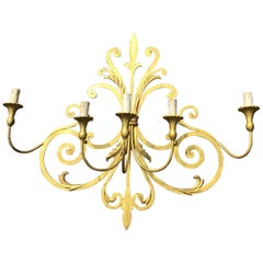 Large Wrought Iron Five-Light Single Wall Sconce Labelled Palladio, Italy