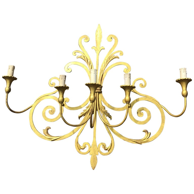 Large Wrought Iron Five-Light Single Wall Sconce Labelled Palladio, Italy For Sale