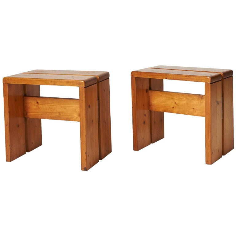 Pair of Stools by Charlotte Perriand For Sale