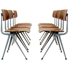 Set of Six Result Industrial Diner Chairs by Friso Kramer for Ahrend de Cirkel