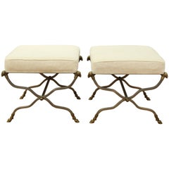 Maison Jansen Hollywood Regency Curule Benches with Ram's Head Motifs