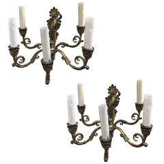 Pair of 19th Century French Bronze Sconces Rewired American