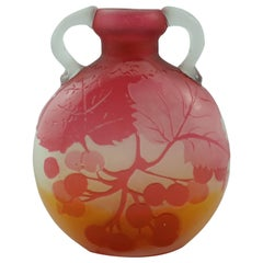 Emile Galle Berries Cabinet Vase with Applied Handles