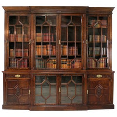Victorian Oak Breakfront Bookcase by Maple & Co