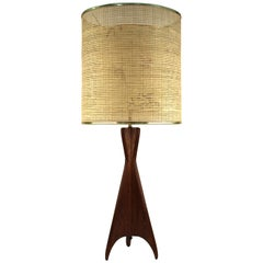Mid-Century Modern Teak Table Lamp with Sculptural Tripod Base