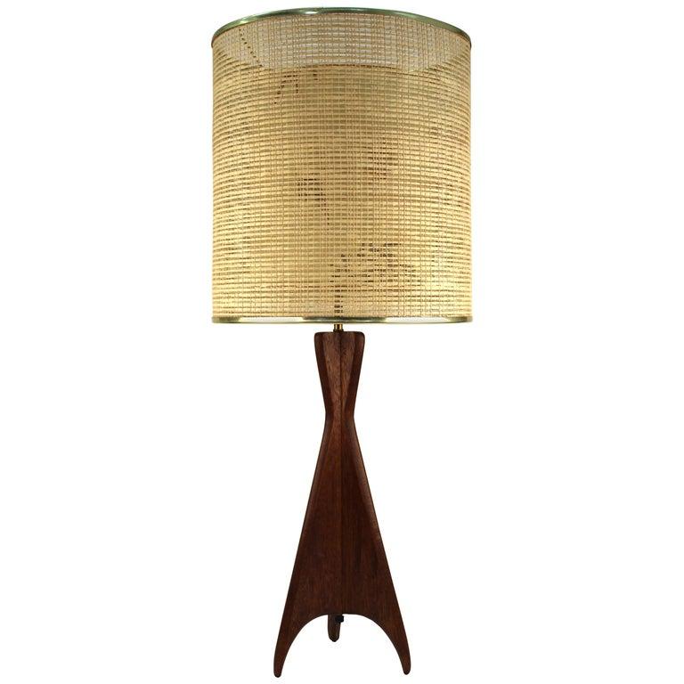 Mid-Century Modern Teak Table Lamp with Sculptural Tripod Base