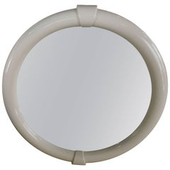 1980s Modern White Lacquer Round Mirror Made in Italy