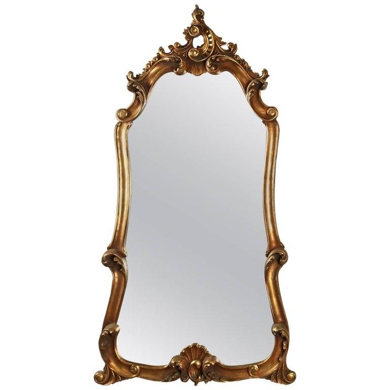 20th Century Italian Rococo Style Giltwood Composite Wall Mirror