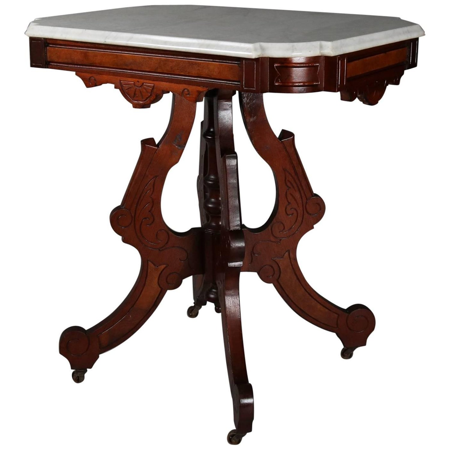 Petite Walnut Victorian Table With Marble Top circa 1870s at 1stdibs