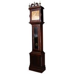 Antique Mahogany Ithaca Clock Co. Grandfather Tall Case Clock, circa 1890