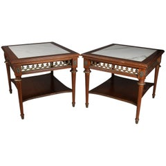 Pair of Antique French Louis XVI Style Marble, Mahogany and Bronze End Tables