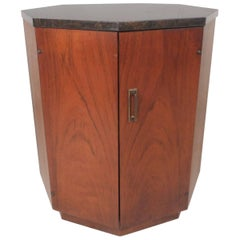 Mid-Century Modern Walnut Octagonal Drum Table in the Manner of Harvey Probber