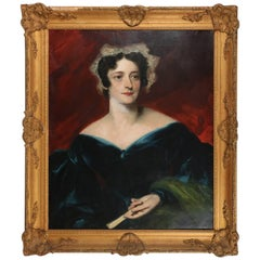 19th Century Oil on Canvas Baroness Portrait Painting in Gilt Carved Wood Frame