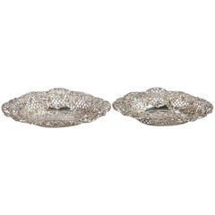 Pair of Antique Repousse Sterling Silver Reticulated Basket by Henry Matthews