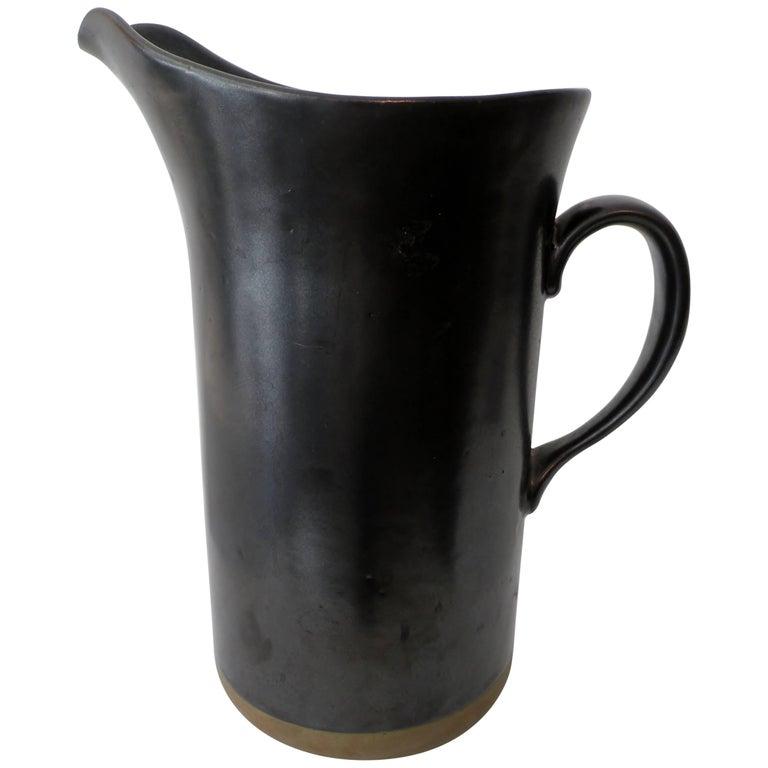 Early Gordon & Jane Martz Marshall Studios Large Pottery Pitcher For Sale