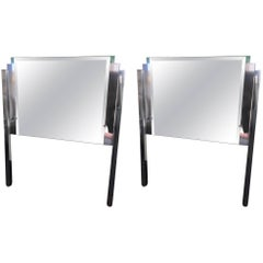 Pair of Custom-Made Mirror and Chrome Hollywood Regency Twin Headboards