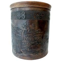 Peruvian Indigenous Folk Art Hand-Tooled Leather Paper Basket Incan