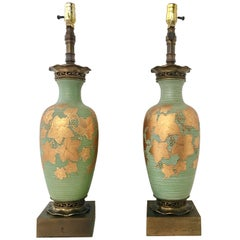 Antique Art Nouveau Venetian Glass & 22-Karat Gold Hand-Painted Lamps, Pair