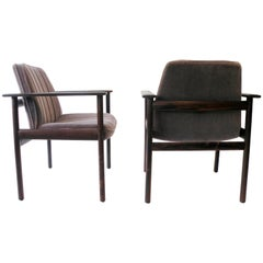 Pair of Fredrik Kayser Attributed Solid Rosewood Executive Lounge Chairs Norway