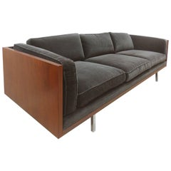 Mid-Century Modern Wood Tuxedo Sofa Attributed to Milo Baughman
