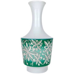 Midcentury Spahr & Co. Silver Overlay Porcelain Vase in Green and White