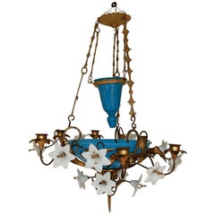 1880 Chandelier in Bindweeds with Blue Opaline and White Opaline Flowers