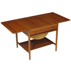 Hans J. Wegner Teak Side or Sewing Table